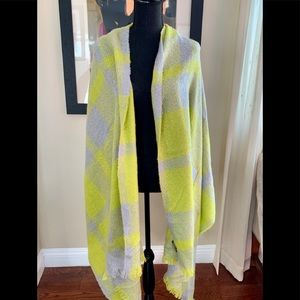 Banana republic chartreuse, blue grey large scarf